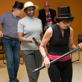 Image of a group of people doing fun exercises