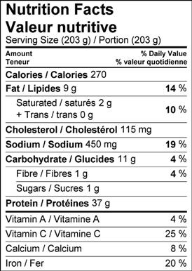 40 Clove Chicken Nutritional information