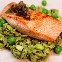 Image of Steelhead Trout with Smashed Minted Peas Recipe