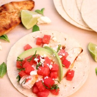 Image of Seared Chicken Tacos with Watermelon Salsa