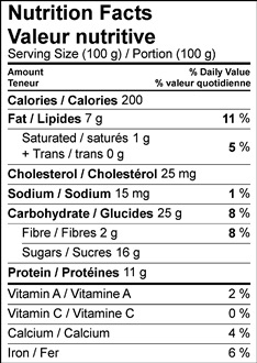 Image of Nutrition Facts Table for Cottage Cheesecake with a Cocoa Walnut Crust recipe