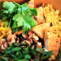 Image of Golden Tofu Bowl with Smoky Tahini Dressing