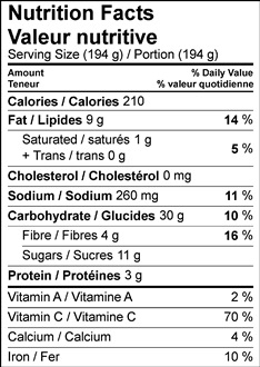 Nutrition facts table image of Beet and Mixed Grain Salad recipe