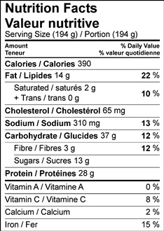 Nutrition Facts Table Image of Curry Chicken, Apple & Raisin Salad Wraps