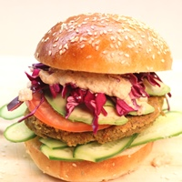 Image of Avocado Falafel Burger with a Garlic Tahini Sauce recipe