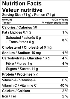 Image of nutrition facts table for strawberry frozen yogurt with flavoured honey
