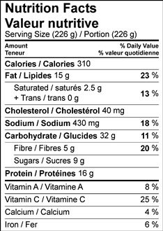 Image of Seared Chicken Tacos with Watermelon Salsa Nutrition Facts Table