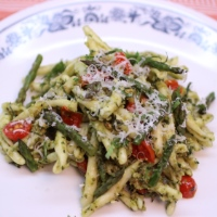 Image of Pasta with Roasted Asparagus and Almond Pesto recipe