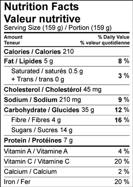 Image of the nutrition facts table for Cocoa Zucchini Bread with Vanilla Peach Marmalade