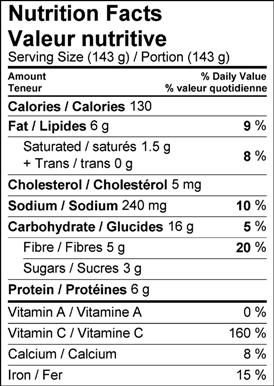 Image of nutrition facts table for brussels sprouts au gratin recipe.