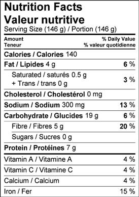 Image of nutrition facts butter bean salad