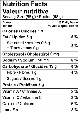 Image of the nutrition facts table of the butternut squash and buttermilk biscuits