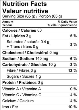 Image of nutrition facts white bean dip