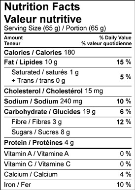 Image of nutrition facts table for Applesauce Spice Muffins.