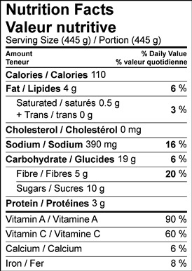 Image of nutrition facts tomato soup
