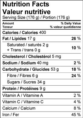 Image of nutrition facts table for Desneige's Chocolate & Pear Mug Brownies.