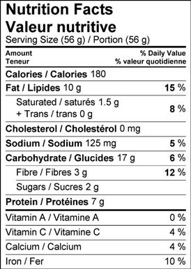 Image of the nutrition facts table for Crispy Chiva Snack (South Asian Snack Mix)