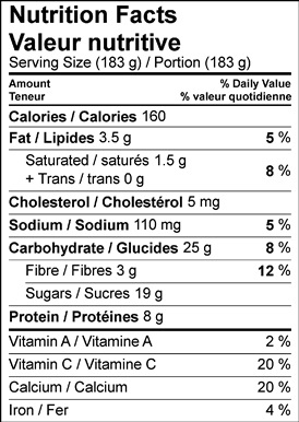 Image of nutrition facts table for crunchy raspberry yogurt parfait recipe.