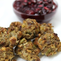 Turkey Stuffing Meatballs with Pomegranate & Cranberry Sauce