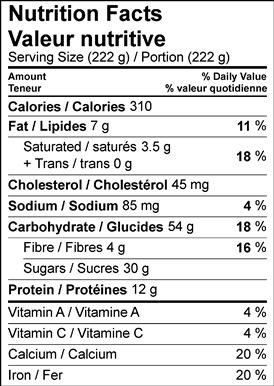 Image of nutrition facts table for Rich Hot Chocolate With Gingerbread Chestnut Biscotti