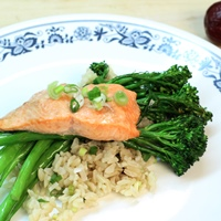 Image of Chinese ginger garlic salmon with brown rice.
