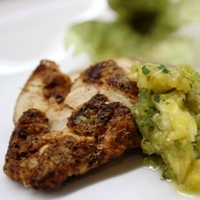 Image of the Recipe and nutrition information for Chicken with Cacao Spice Rub & Tomatillo Pineapple Salsa