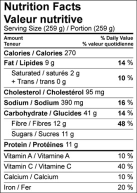Image of nutrition facts table for Mustard Spaetzle with Braised Cabbage & Apple recipe