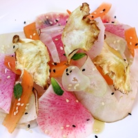 Image of Winter Slaw with Sesame Dressing & Celeriac Chips recipe