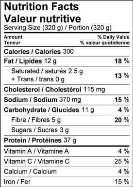 Image of nutrition facts jerk chicken eggplant