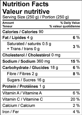 Image of nutrition facts table for watermelon miso salad recipe.