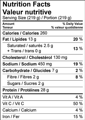Image of nutrition facts table for Braised Swiss Chard with Cauliflower & Pecan Crusted Chicken.
