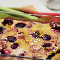Image of rhubarb and cherry clafoutis.