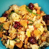 Image of nut and fruit quinoa salad.