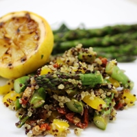 Image of Asparagus & Quinoa Salad with Charred Lemon Dressing.