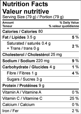 Image of nutrition facts table for lemongrass chicken skewers with citrus dipping sauce recipe.
