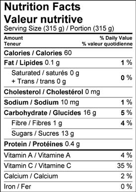 Image of nutrition facts table for frozen mango and mint limeade recipe.