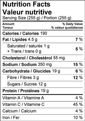 Image of nutrition facts table for maple syrup glazed pulled pork tenderloin recipe.