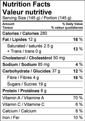 Image of nutrition facts table for Maple Sweet Potato Pie with Brazil Nut Crust recipe.
