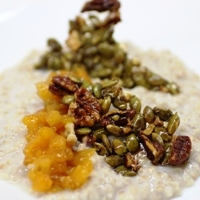 Image of Creamy Steel Cut Oats with Apricot Ginger Compote and Pumpkin Seed Brittle