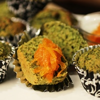 Image of several of the Spinach Muffins with Ginger Carrot Marmalade