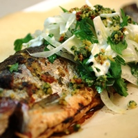Image of rainbow trout with fennel parsley salad