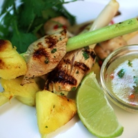Image of Lemongrass Chicken Skewers with Citrus Dipping Sauce.