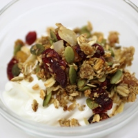 Image of a bowl of Lisa Shamai's Healthy Trail Mix Granola