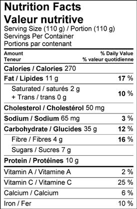Image of nutrition facts table for Ontario currant and yogurt tart.