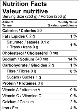 Image of nutrition facts table for honey barley banana bread