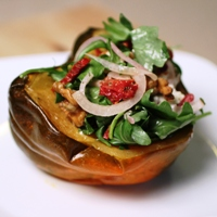 Image of walnut and goat cheese stuffed squash