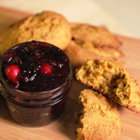 Image of the Red Fife Pumpkin Scones with Forest Berry Preserves