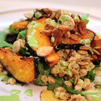 Image of Buttercup Squash and Farro Salad with Green Goblin Dressing.