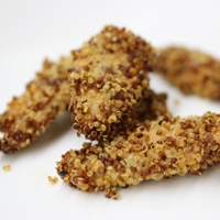 Image of several of the Smokey Quinoa-Crusted Chicken Strips