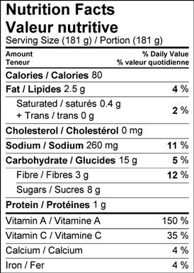 Image of nutrition facts table for orange, carrot and cilantro soup.